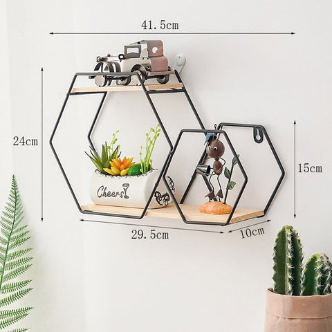 New Wooden Gold Storage Racks Hanging Decor Storage Box Flower Pot House Storage Rack Wall Book Figurines Display Crafts Shelves