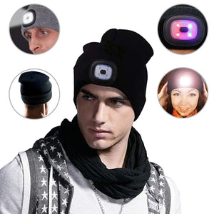 Outdoor winter multi-function LED lamp knit cap for running cycling hunting hiking camping hiking windproof warm gadget