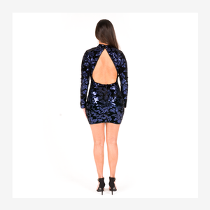 OPEN BACK SEQUINS DRESS
