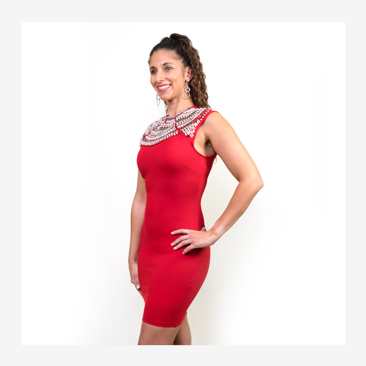 BODYCON BEADED MINI RED DRESS
