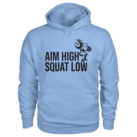 Aim High Squat Low Hoodie - Light Blue / S - Hoodies