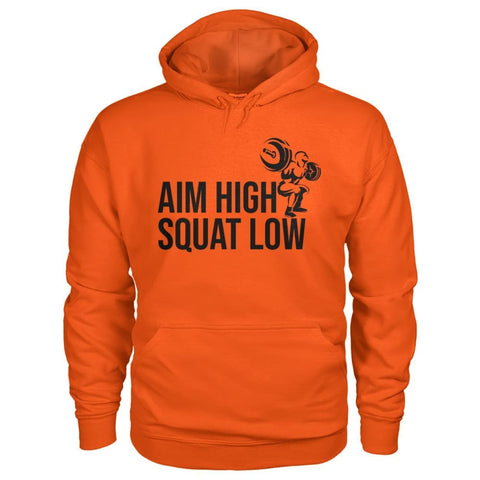 Aim High Squat Low Hoodie - Orange / S - Hoodies