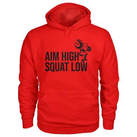 Aim High Squat Low Hoodie - Red / S - Hoodies