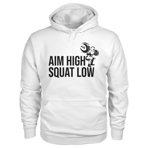 Aim High Squat Low Hoodie - White / S - Hoodies