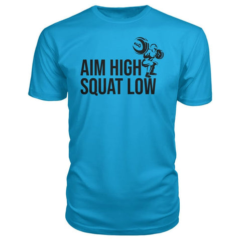 Image of Aim High Squat Low Premium Tee - Carribean Blue / S - Short Sleeves