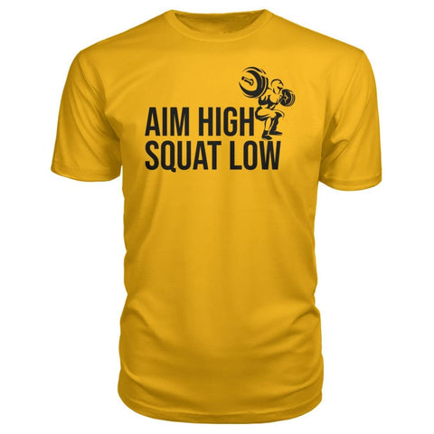 Image of Aim High Squat Low Premium Tee - Gold / S - Short Sleeves