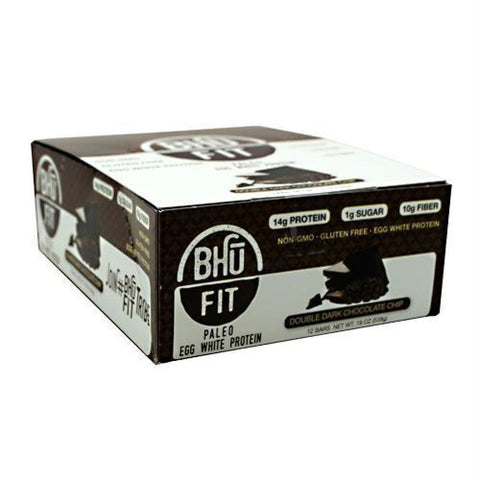 Bhu Foods BHU FIT BHU Fit Paleo Double Dark Chocolate Chip - Gluten Free - Double Dark Chocolate Chip / 12 ea - Bars
