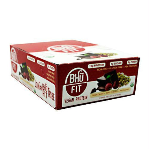 Bhu Foods BHU FIT BHU Fit Vegan Protein Apple Chunk Cinnamon Nut Meg - Gluten Free - Chocolate Tart Cherry Pistachio / 12 ea - Bars