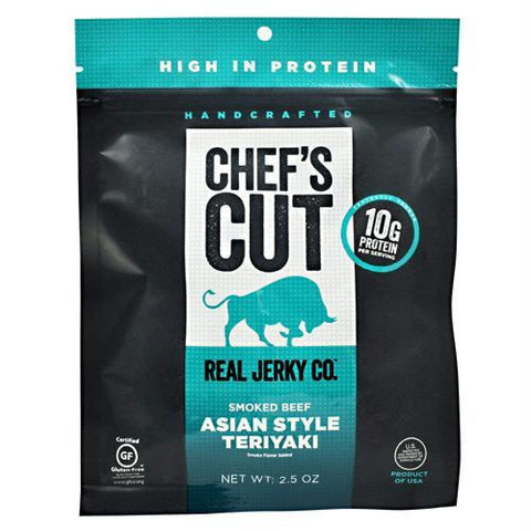 Chefs Cut Real Jerky Smoked Beef Asian Style Teriyaki - Gluten Free - Asian Style Teriyaki / 2.5 oz - Snacks / Foods