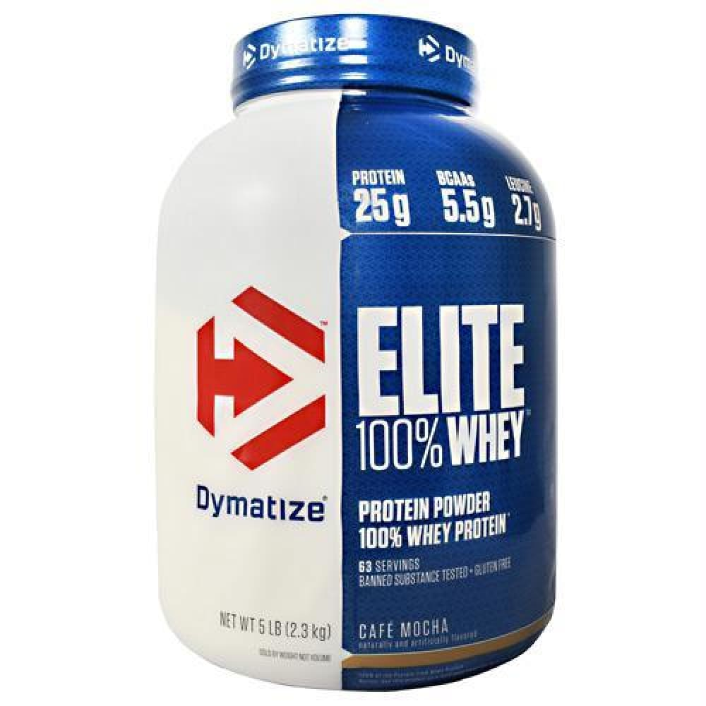 Dymatize Elite 100% Whey Chocolate Peanut Butter - Gluten Free - Cafe Mocha / 5 lb - Supplements