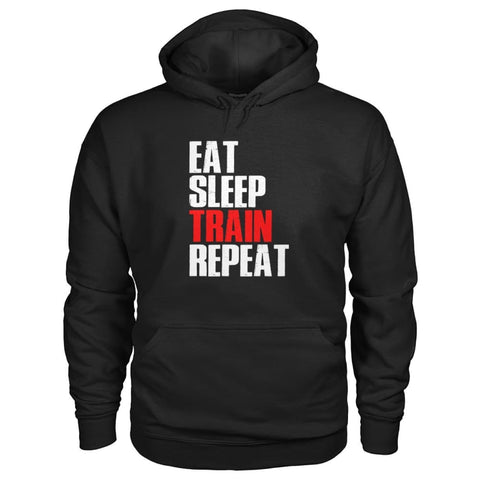 Eat Sleep Train Repeat Hoodie - Black / S - Hoodies