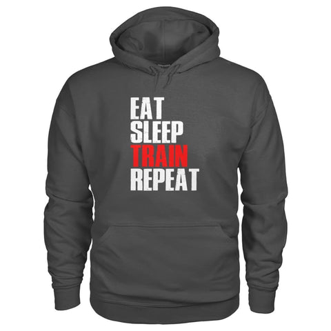 Eat Sleep Train Repeat Hoodie - Charcoal / S - Hoodies