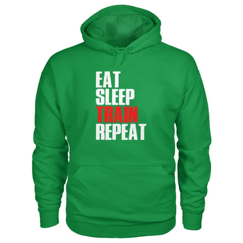 Eat Sleep Train Repeat Hoodie - Irish Green / S - Hoodies