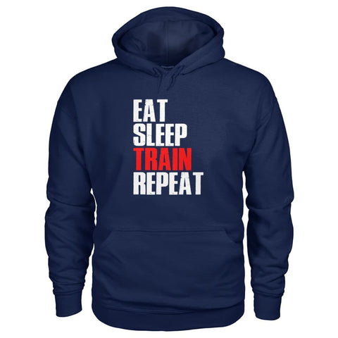 Eat Sleep Train Repeat Hoodie - Navy / S - Hoodies