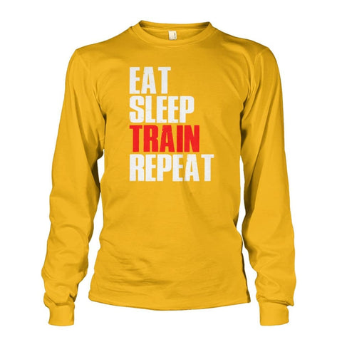 Image of Eat Sleep Train Repeat Long Sleeve - Gold / S - Long Sleeves