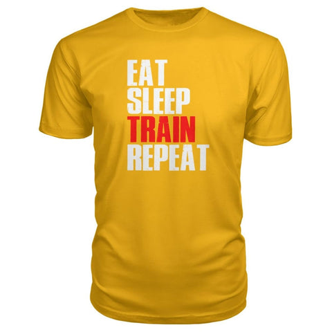 Eat Sleep Train Repeat Premium Tee - Gold / S - Short Sleeves