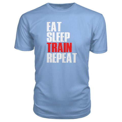 Image of Eat Sleep Train Repeat Premium Tee - Light Blue / S - Short Sleeves