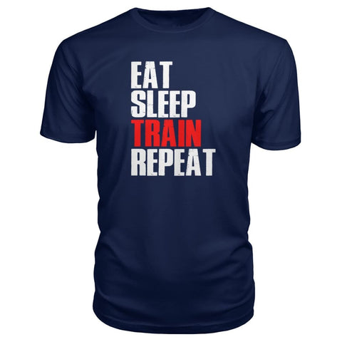 Eat Sleep Train Repeat Premium Tee - Navy / S - Short Sleeves