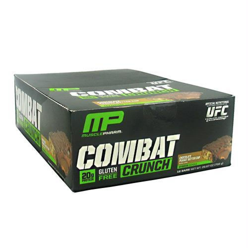 MusclePharm Hybrid Series Combat Crunch Birthday Cake - Gluten Free - Chocolate Peanut Butter Cup / 12 ea - Bars