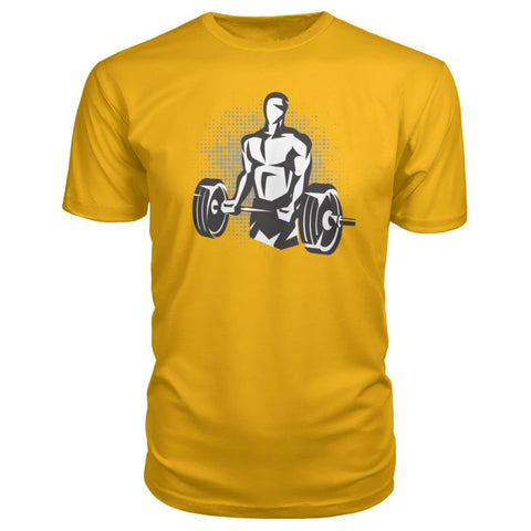 Pumpin Iron Premium Tee - Gold / S - Short Sleeves