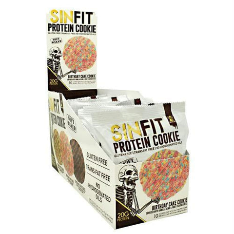 Sinister Labs Sinfit Cookie Chocolate Chip Cookie - Gluten Free - Birthday Cake Cookie / 10 ea - Snacks / Foods