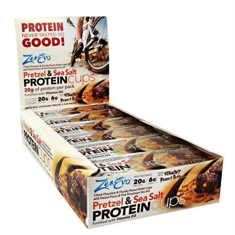 Zenevo Protein Cups Dark Chocolate and Crunchy Peanut Butter - Gluten Free - Pretzel and Sea Salt / 12 ea - Snacks / Foods