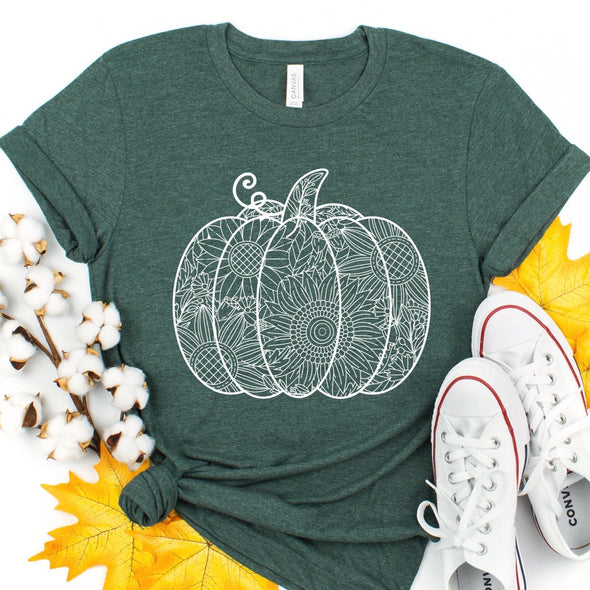 A13 Pumpkin -  Screen Print Transfer - Shirt = Heather Forest