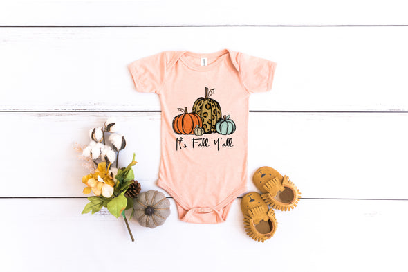 Infant/Patch It's Fall Y'all-  Screen Print Transfer - Shirt = Heather Peach