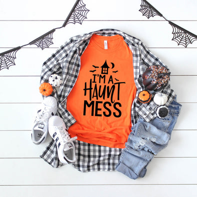 Haunt Mess -  Screen Print Transfer - Shirt =  3001 Orange