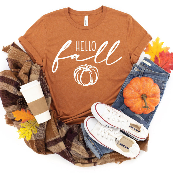 Hello Fall -  Screen Print Transfer - Shirt = 3001CVC Heather Autumn