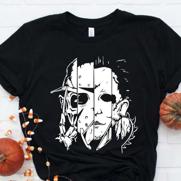 D19 White Halloween Faces -  Screen Print Transfer
