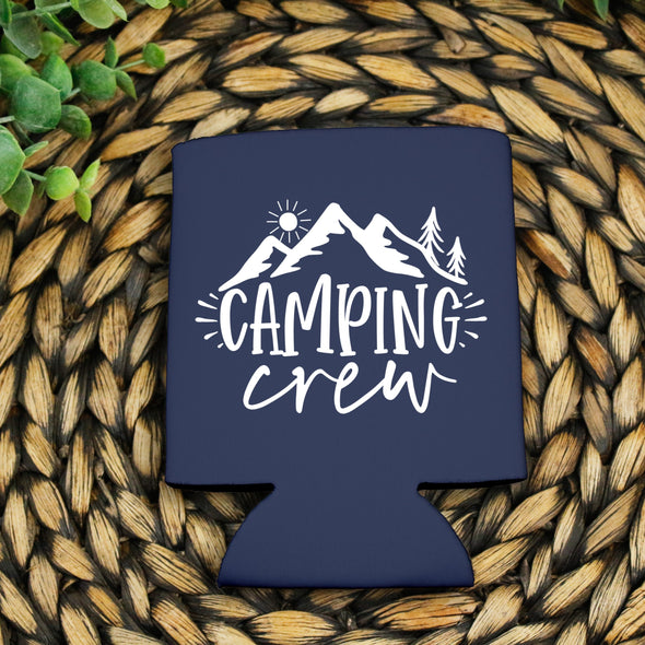 White Can Cooler Camping Crew -  Screen Print Transfer SHEET OF 4