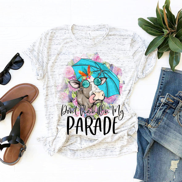 Don't Rain On My Parade Floral Cow - Sublimation Transfer