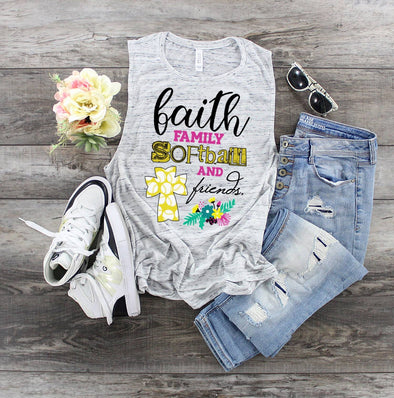 Faith, Family, Softball & Friends - Sublimation Transfer