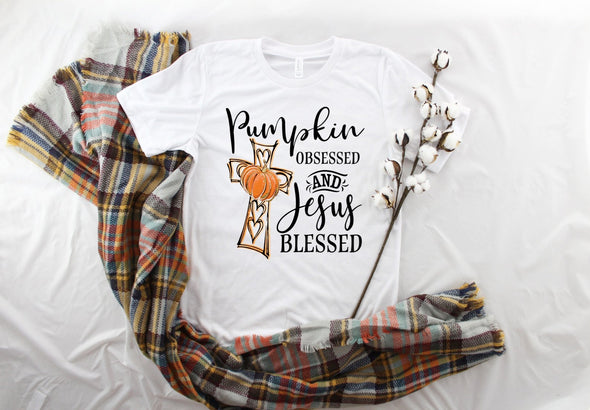 Pumpkin Obsessed and Jesus Blessed - Sublimation Transfer