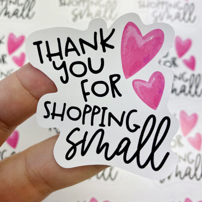 S3 SALE Thank You For Shopping Small Vinyl Stickers (24)  - Screen Print Transfer