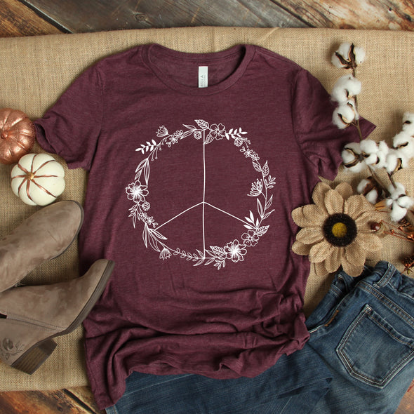 C12 Floral Peace Sign -  Screen Print Transfer - Shirt =  3001CVC Heather Maroon
