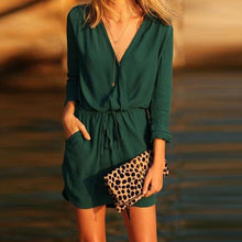 Load image into Gallery viewer, Green Sexy Elegant Half Sleeves Mini Dress