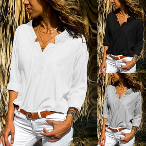 V Neck  Plain Star  Blouses