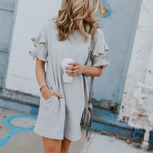 Round Neck Short Sleeve Ruffles Casual Dresses