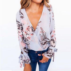 Surplice  Bowknot  Floral Printed Blouses