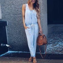 Load image into Gallery viewer, Spaghetti Strap  Belt Loops  Plain  Sleeveless Jumpsuits