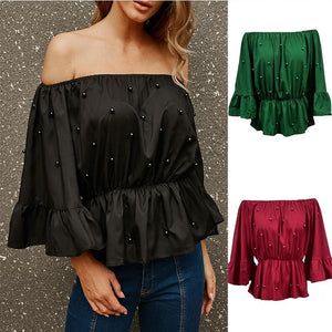 Beaded Elastic Shoulder Horn Sleeve Loose T-Shirt