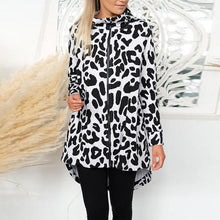 Load image into Gallery viewer, High Neck  Asymmetric Hem Zipper  Leopard Printed Outerwear