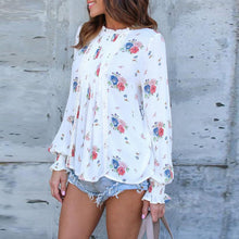 Load image into Gallery viewer, Round Neck  Ruffle Trim  Floral Printed  Blouses
