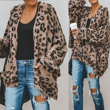 Load image into Gallery viewer, Collarless  Slit Pocket  Leopard Cardigans
