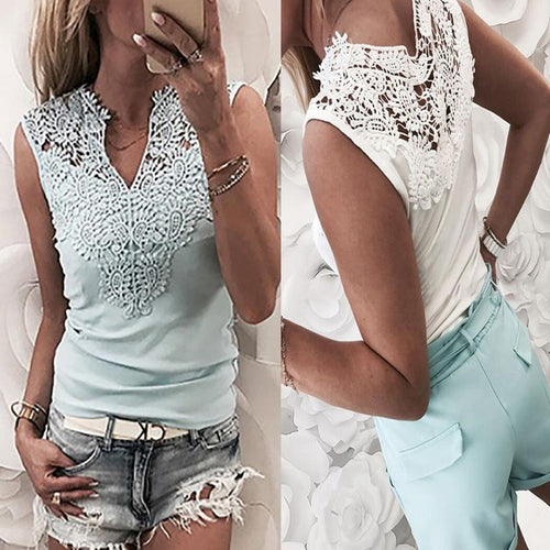Solid Color Stitching Lace V-Neck Camis