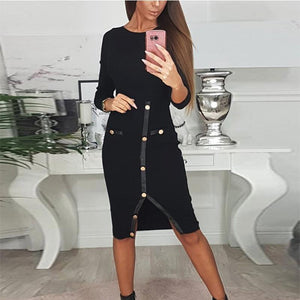 Round Neck  Decorative Buttons Slit  Plain  Long Sleeve Bodycon Dresses