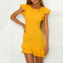 Load image into Gallery viewer, Round Neck  Flounce  Plain  Short Sleeve Casual Dresses