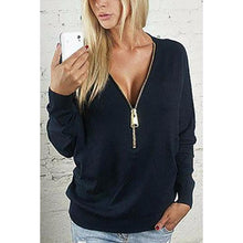 Load image into Gallery viewer, Black Zipper V-Neck Bat Sleeve Top